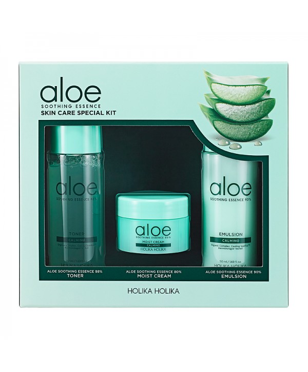 Holika Holika Aloe Soothing Essence Skin Care Special Kit - Toner, 50 ml/Emulsion, 50 ml/Cream, 20 ml