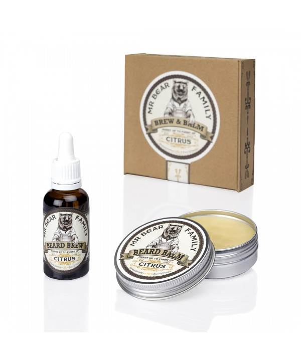 Mr Bear Family Special Kit - Beard Brew 30ml & Beard Balm 60ml, Citrus