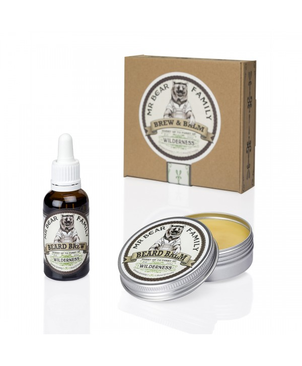Mr Bear Family Special Kit - Beard Brew 30ml & Beard Balm 60ml, Wilderness
