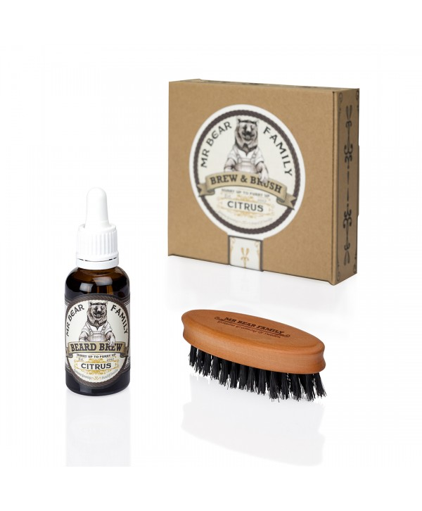 Mr Bear Family Special Kit - Beard Brew Citrus 30ml & Brush