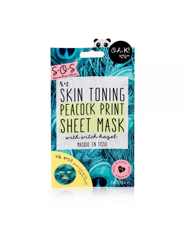 Oh K! SOS Skin Toning Peacock Print Sheet Mask 23ml