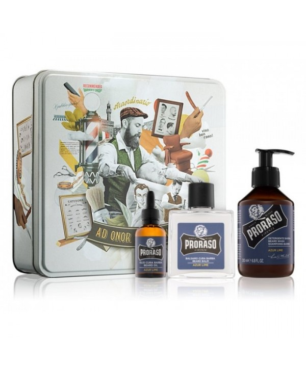 Proraso Azur Lime Beard Kit - Beard Wash 200ml, Beard Balm 100ml, Beard Oil 30ml