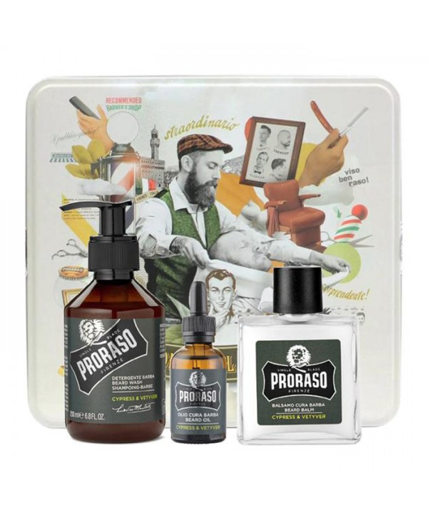 Proraso Cypress & Vetyver Beard Kit - Beard Wash 200ml, Beard Balm 100ml, Beard Oil 30ml