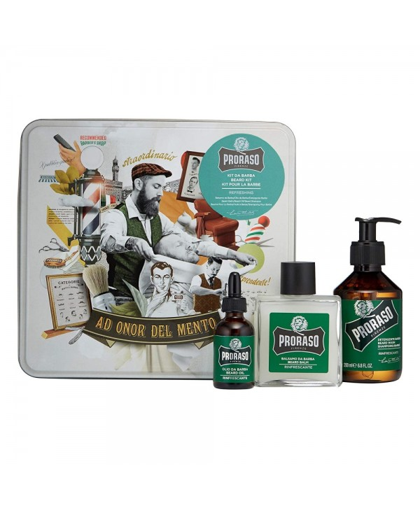 Proraso Refreshing Beard Kit - Beard Wash 200ml, Beard Balm 100ml, Beard Oil 30ml