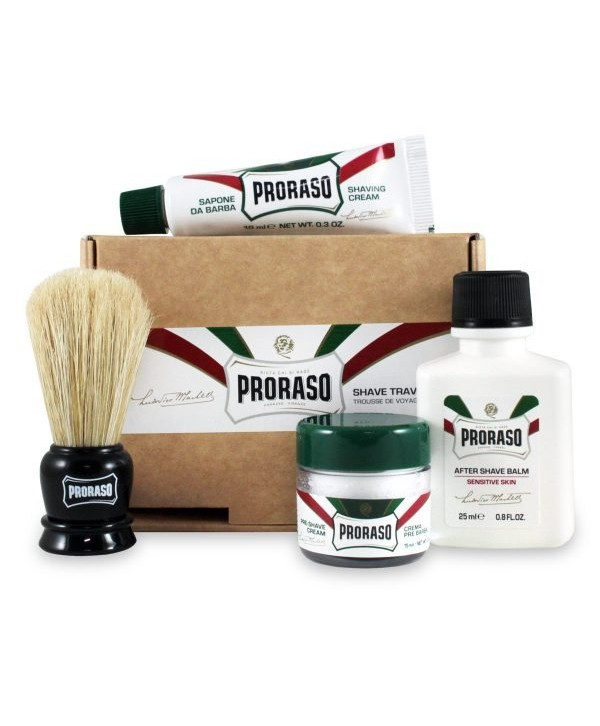 Proraso Travel Shave Kit - Shaving Brush Mini, Pre-Shave Cream 15ml, Shaving Cream 10ml, After Shave Balm 25ml