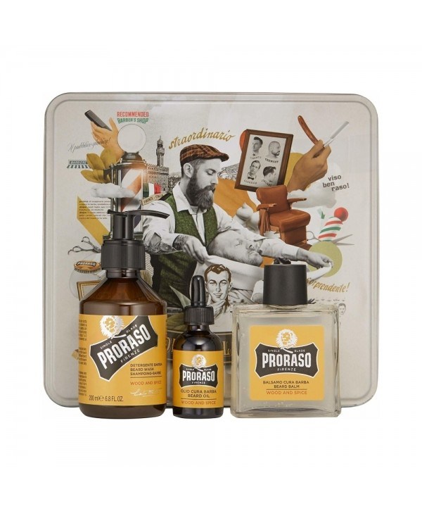 Proraso Wood & Spice Beard Kit - Beard Wash 200ml, Beard Balm 100ml, Beard Oil 30ml