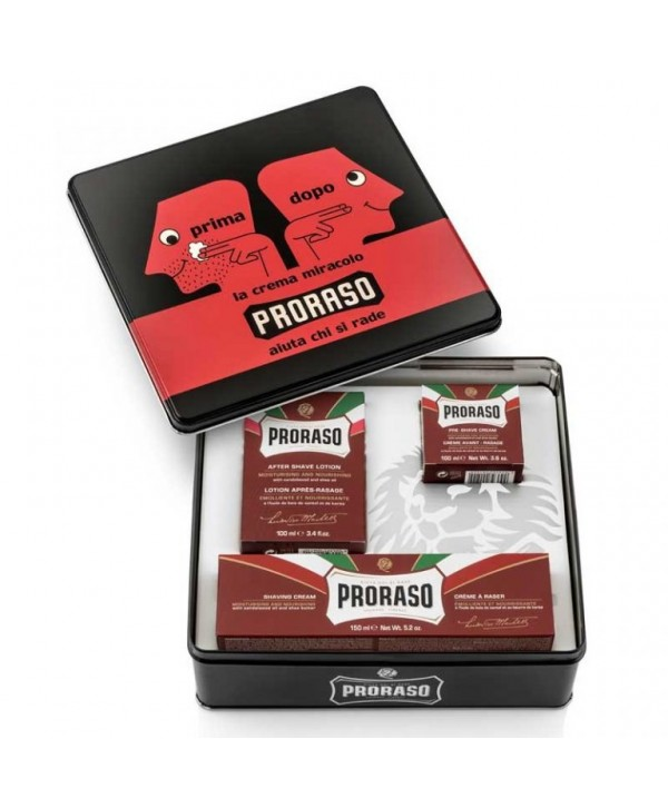 Proraso Gift Set Prima e Dopo (sandalwood) - Pre-Shave Cream, 100ml/Shaving Cream, 150ml/After Shave Lotion 100ml